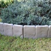 2,5 Meter Garten Palisaden Beetumrandung grau Stein Optik retro Beeteinfassung